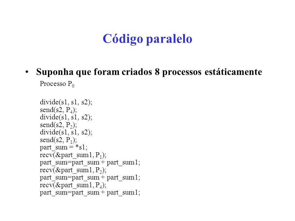 Código paralelo Suponha que foram criados 8 processos estáticamente Processo P 0 divide(s1, s1, s2); send(s2, P 4 ); divide(s1, s1, s2); send(s2, P 2 ); divide(s1, s1, s2); send(s2, P 1 ); part_sum = *s1; recv(&part_sum1, P 1 ); part_sum=part_sum + part_sum1; recv(&part_sum1, P 2 ); part_sum=part_sum + part_sum1; recv(&part_sum1, P 4 ); part_sum=part_sum + part_sum1;