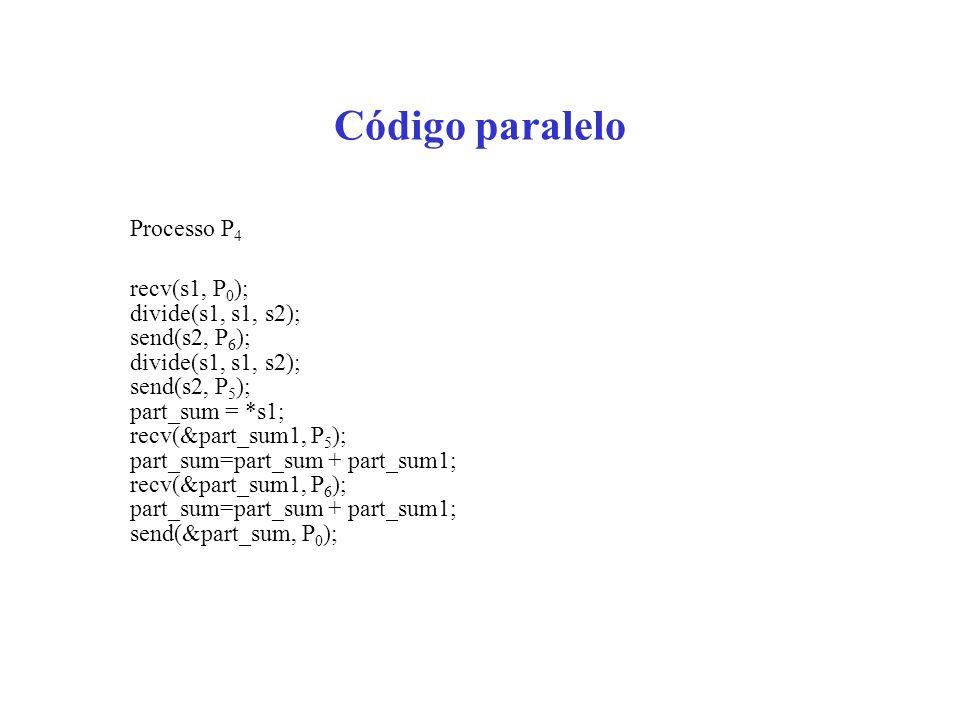 Código paralelo Processo P 4 recv(s1, P 0 ); divide(s1, s1, s2); send(s2, P 6 ); divide(s1, s1, s2); send(s2, P 5 ); part_sum = *s1; recv(&part_sum1, P 5 ); part_sum=part_sum + part_sum1; recv(&part_sum1, P 6 ); part_sum=part_sum + part_sum1; send(&part_sum, P 0 );