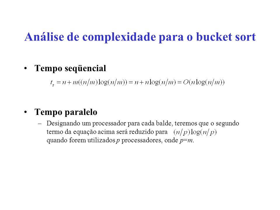 Análise de complexidade para o bucket sort Tempo seqüencial Tempo paralelo –Designando um processador para cada balde, teremos que o segundo termo da equação acima será reduzido para quando forem utilizados p processadores, onde p=m.