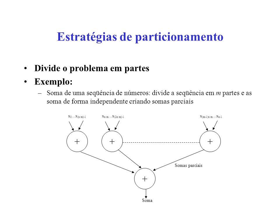 Estratégias de particionamento Divide o problema em partes Exemplo: –Soma de uma seqüência de números: divide a seqüência em m partes e as soma de forma independente criando somas parciais ++ + + x 0 …x (n/m)-1 x n/m …x (2n/m)-1 x (m-1)n/m …x n-1 Somas parciais Soma