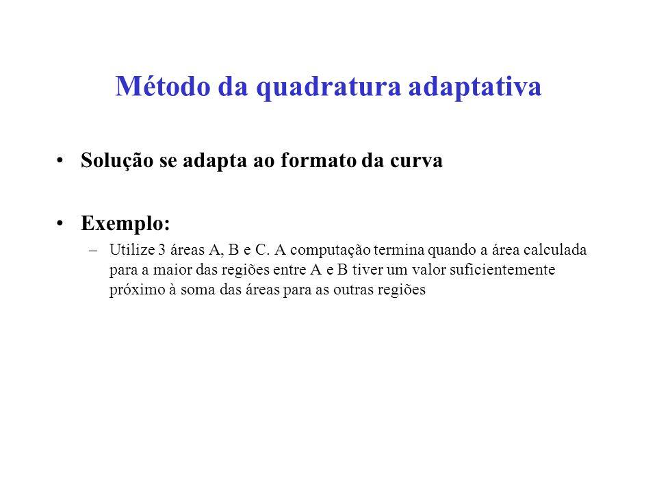 Método da quadratura adaptativa Solução se adapta ao formato da curva Exemplo: –Utilize 3 áreas A, B e C.