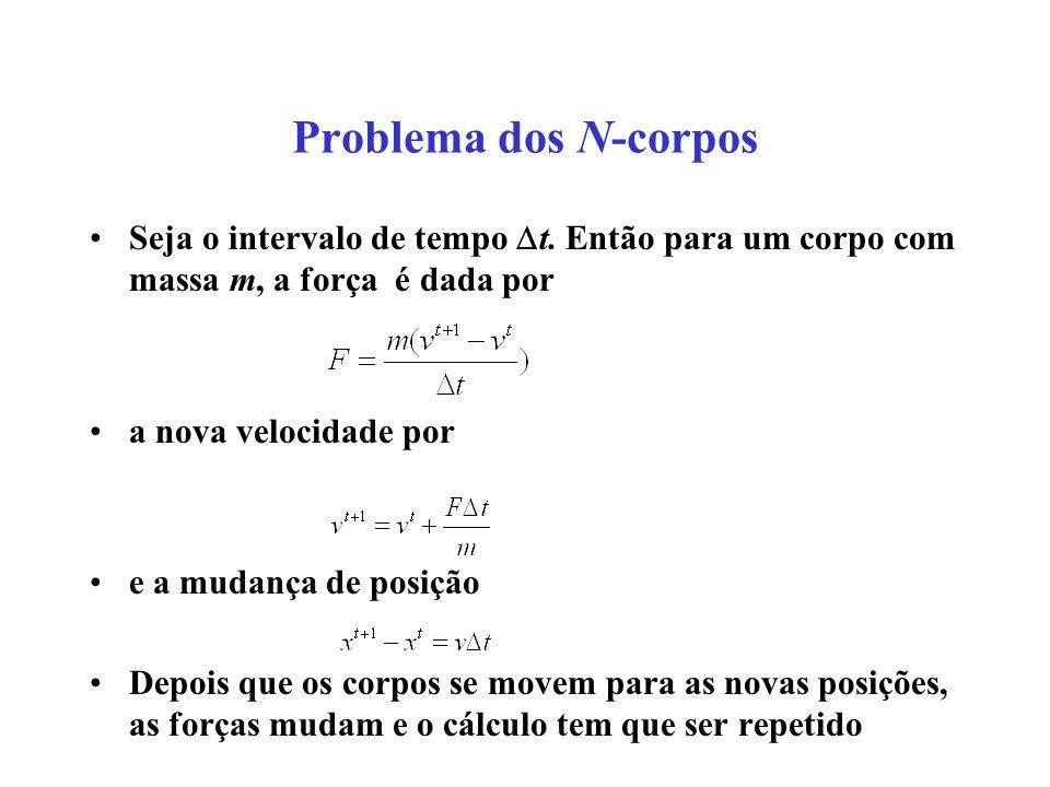 Problema dos N-corpos Seja o intervalo de tempo t.