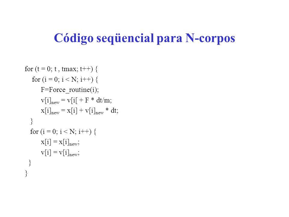 Código seqüencial para N-corpos for (t = 0; t, tmax; t++) { for (i = 0; i < N; i++) { F=Force_routine(i); v[i] new = v[i[ + F * dt/m; x[i] new = x[i] + v[i] new * dt; } for (i = 0; i < N; i++) { x[i] = x[i] new ; v[i] = v[i] new ; }