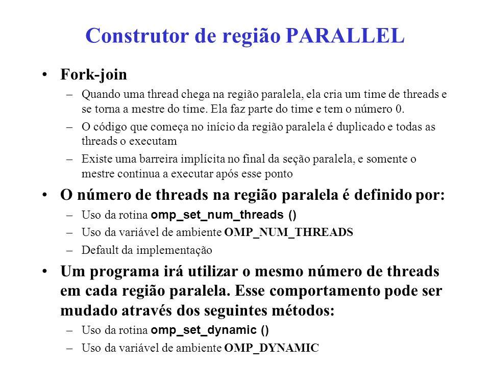 Construtor de região PARALLEL Fork-join –Quando uma thread chega na região paralela, ela cria um time de threads e se torna a mestre do time.