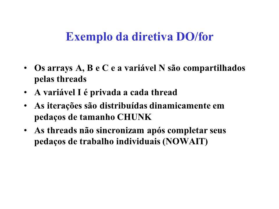 Exemplo da diretiva DO/for Os arrays A, B e C e a variável N são compartilhados pelas threads A variável I é privada a cada thread As iterações são distribuídas dinamicamente em pedaços de tamanho CHUNK As threads não sincronizam após completar seus pedaços de trabalho individuais (NOWAIT)