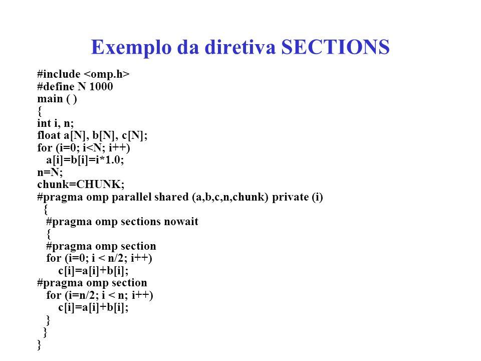 Exemplo da diretiva SECTIONS #include #define N 1000 main ( ) { int i, n; float a[N], b[N], c[N]; for (i=0; i<N; i++) a[i]=b[i]=i*1.0; n=N; chunk=CHUNK; #pragma omp parallel shared (a,b,c,n,chunk) private (i) { #pragma omp sections nowait { #pragma omp section for (i=0; i < n/2; i++) c[i]=a[i]+b[i]; #pragma omp section for (i=n/2; i < n; i++) c[i]=a[i]+b[i]; }