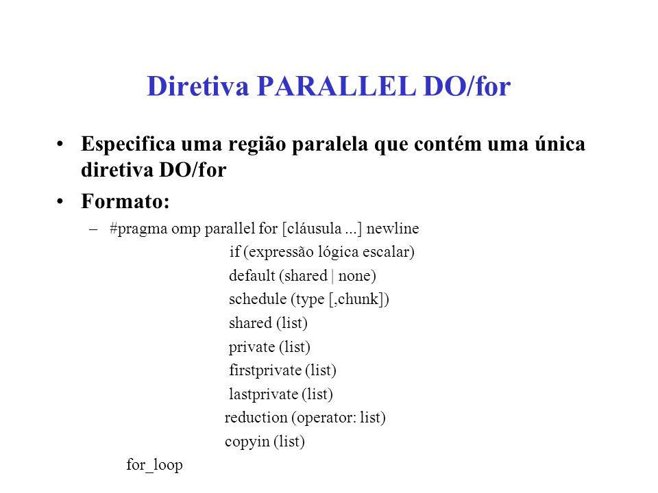 Diretiva PARALLEL DO/for Especifica uma região paralela que contém uma única diretiva DO/for Formato: –#pragma omp parallel for [cláusula...] newline if (expressão lógica escalar) default (shared | none) schedule (type [,chunk]) shared (list) private (list) firstprivate (list) lastprivate (list) reduction (operator: list) copyin (list) for_loop