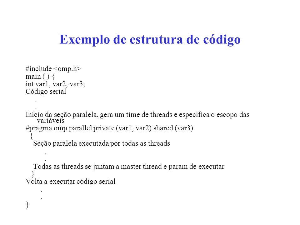 Exemplo da diretiva DO/for #include #define CHUNK 100 #define N 1000 main ( ) { int i, n, chunk; float a[N], b[N], c[N]; for (i=0; i<N; i++) a[i]=b[i]=i*1.0; n=N; chunk=CHUNK; #pragma omp parallel shared (a,b,c,n,chunk) private (i) { #pragma omp for schedule(dynamic, chunk) nowait for (i=0; i < n; i++) c[i]=a[i]+b[i]; }