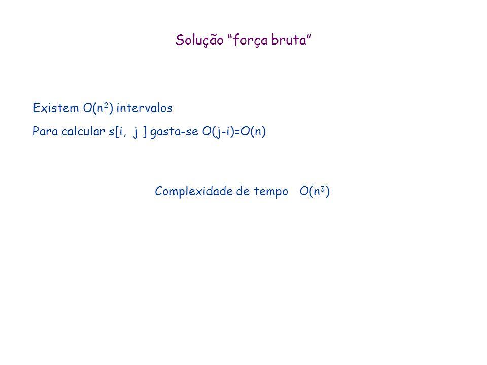 Solved Exercises 2. Subcadeia de Soma Máxima Entrada a = (a 1, a 2, …, a N ) um vetor de inteiros Saída: i e j tais que S[i, j ]= a i + a i+1 + … + a