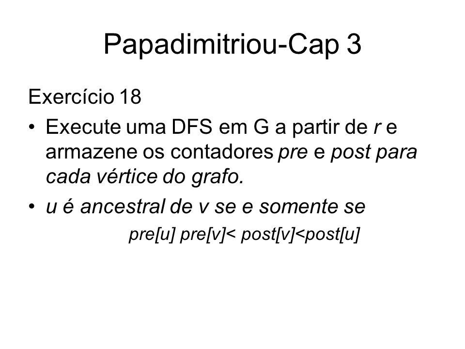 Papadimitriou-Cap 3 Exercício 18 Execute uma DFS em G a partir de r e armazene os contadores pre e post para cada vértice do grafo. u é ancestral de v