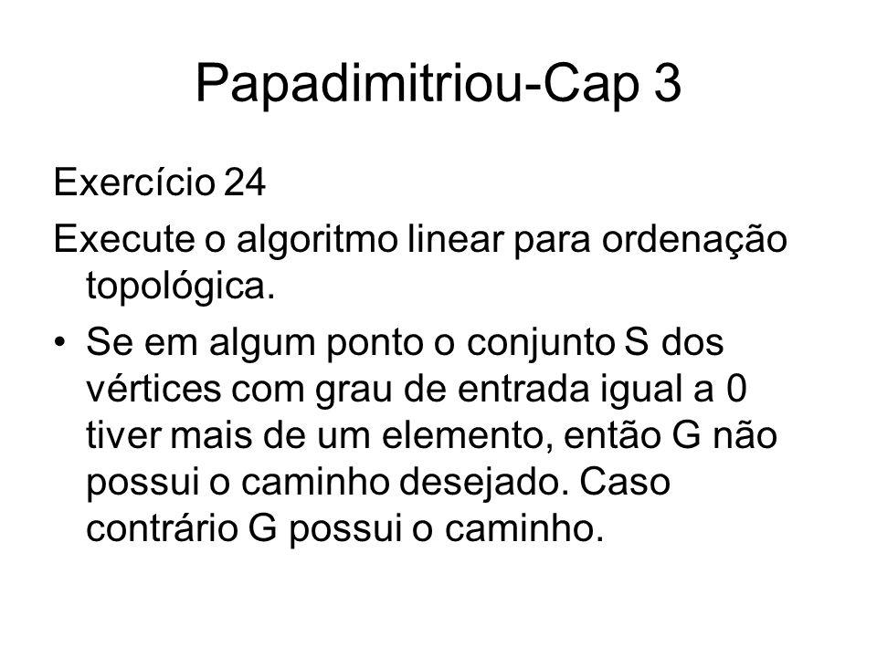 Papadimitriou-Cap 3 Exercício 24 Execute o algoritmo linear para ordenação topológica. Se em algum ponto o conjunto S dos vértices com grau de entrada