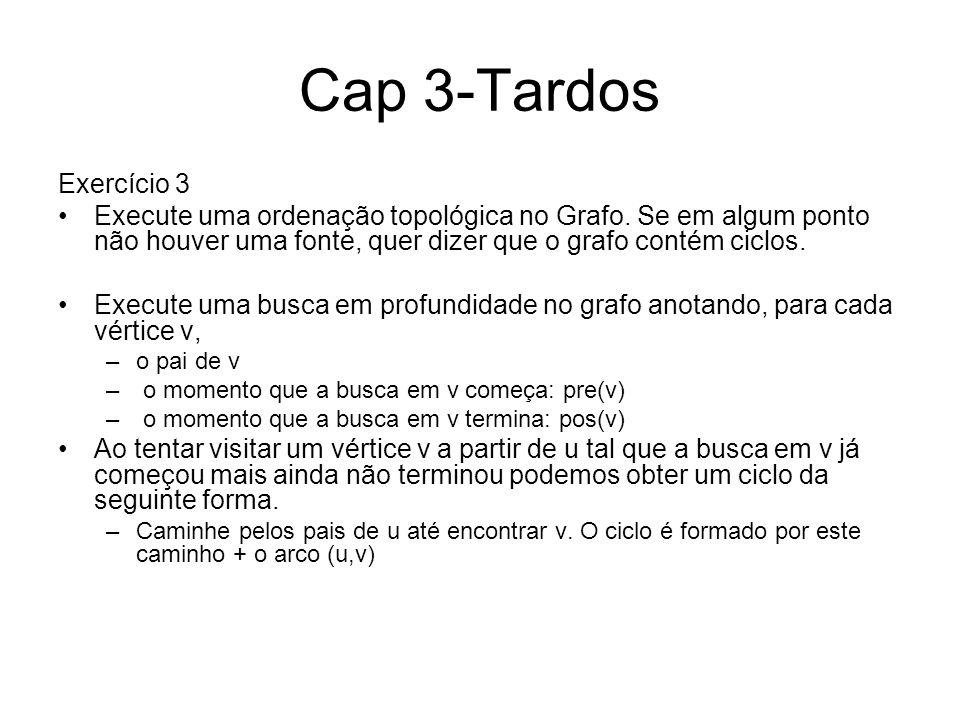 Cap 3-Tardos Exercício 3 Execute uma ordenação topológica no Grafo. Se em algum ponto não houver uma fonte, quer dizer que o grafo contém ciclos. Exec