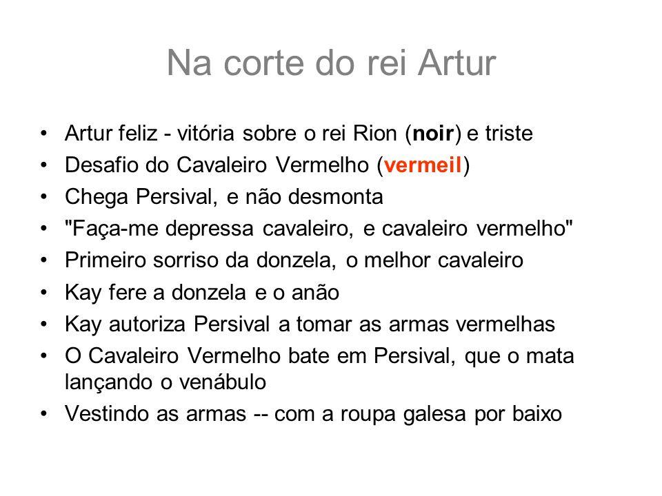 Na corte do rei Artur Artur feliz - vitória sobre o rei Rion (noir) e triste Desafio do Cavaleiro Vermelho (vermeil) Chega Persival, e não desmonta