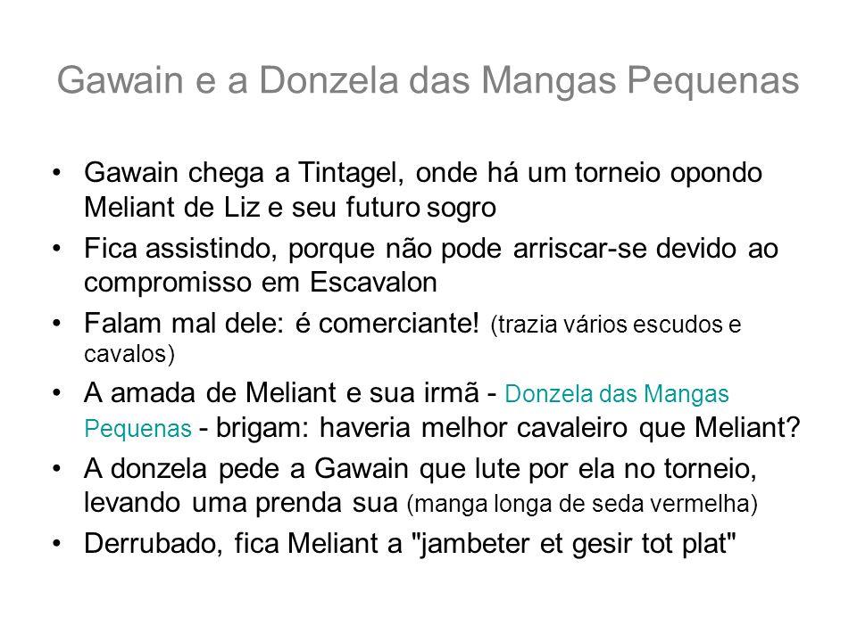 Gawain e a Donzela das Mangas Pequenas Gawain chega a Tintagel, onde há um torneio opondo Meliant de Liz e seu futuro sogro Fica assistindo, porque nã