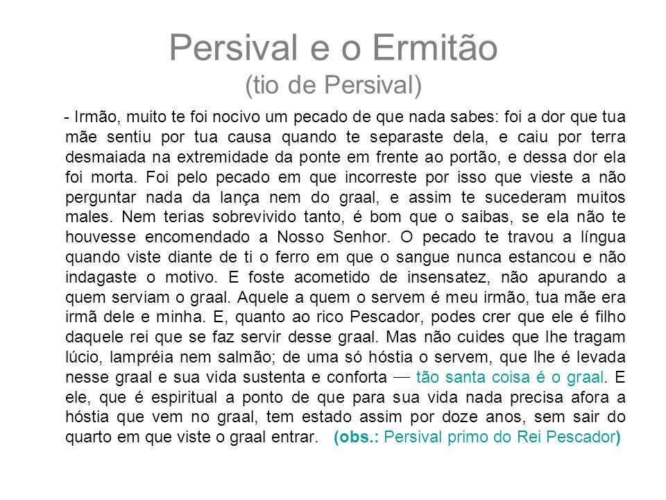 Persival e o Ermitão (tio de Persival) - Irmão, muito te foi nocivo um pecado de que nada sabes: foi a dor que tua mãe sentiu por tua causa quando te