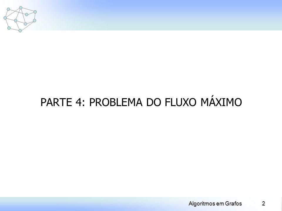 3Algoritmos em Grafos Problema do Fluxo Máximo Dados: Grafo G=(X,U) orientado u U: capacidade c(u) 0 f(u) c(u) Problema: Obter um fluxo máximo de S a P respeitando as restrições de capacidade e as restrições de conservação de fluxo em cada nó.