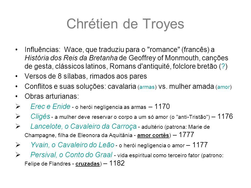 Chrétien de Troyes Influências: Wace, que traduziu para o