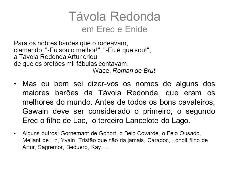 Távola Redonda em Erec e Enide Para os nobres barões que o rodeavam, clamando: