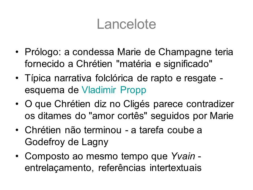 Lancelote Prólogo: a condessa Marie de Champagne teria fornecido a Chrétien
