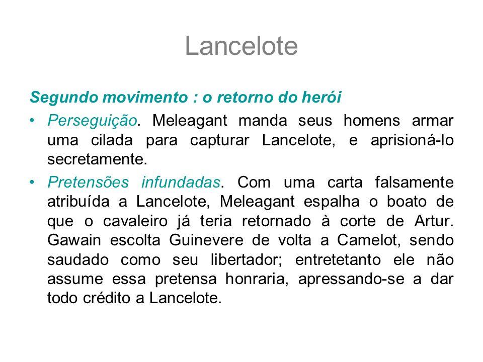 Lancelote Segundo movimento : o retorno do herói Perseguição. Meleagant manda seus homens armar uma cilada para capturar Lancelote, e aprisioná-lo sec