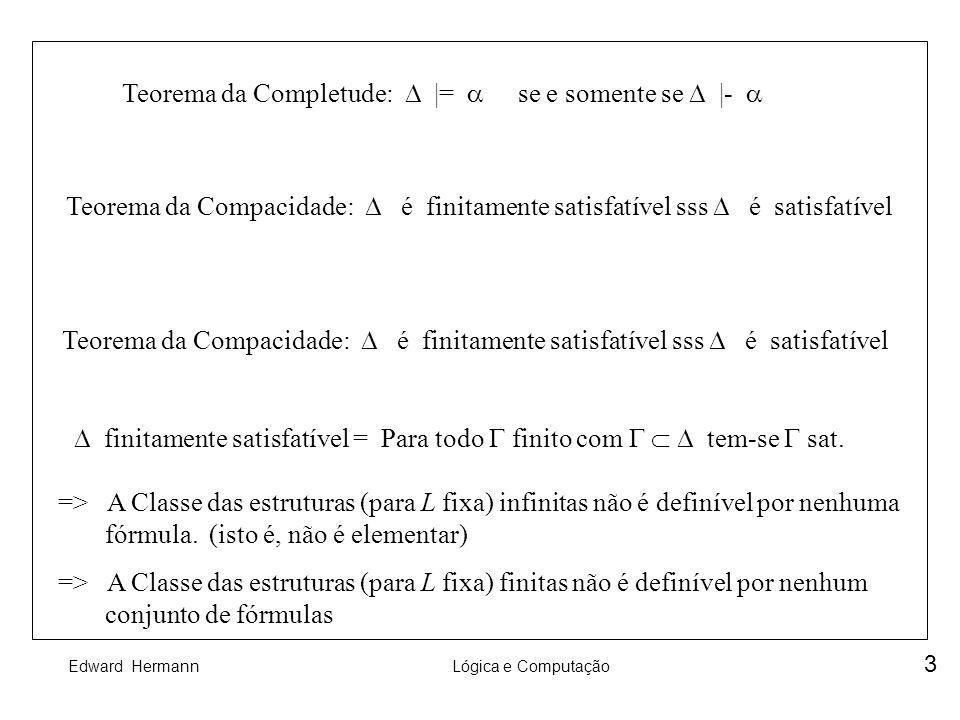Edward HermannLógica e Computação 3 Teorema da Completude: |= se e somente se |- Teorema da Compacidade: é finitamente satisfatível sss é satisfatível
