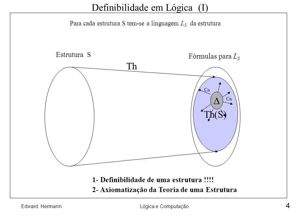 Edward HermannLógica e Computação 5 Q Definibilidade em Lógica (I) Homomorfismo de Estruturas S1 S2 h PPhPh s h(s) f(a,b) a b h(a) h(b) h(f(a,b)) |S1| f P |S2| g Q h = f h (h(a),h(b)) = g(h(a),h(b)) fhfh PhPh