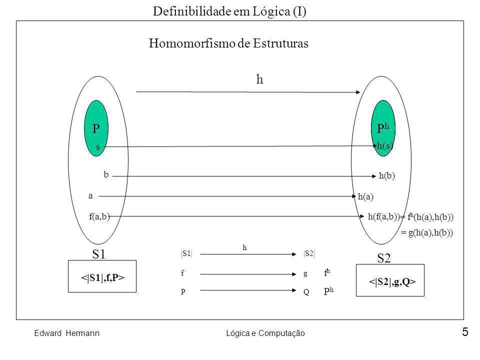 Edward HermannLógica e Computação 5 Q Definibilidade em Lógica (I) Homomorfismo de Estruturas S1 S2 h PPhPh s h(s) f(a,b) a b h(a) h(b) h(f(a,b)) |S1|