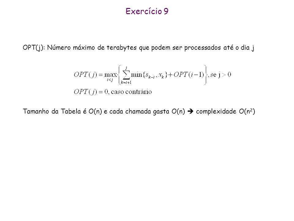 Exercício 9 OPT(j): Número máximo de terabytes que podem ser processados até o dia j Tamanho da Tabela é O(n) e cada chamada gasta O(n) complexidade O