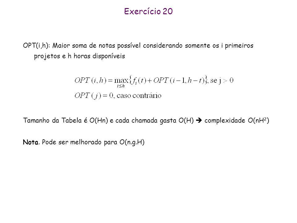 Exercício 20 OPT(i,h): Maior soma de notas possível considerando somente os i primeiros projetos e h horas disponíveis Tamanho da Tabela é O(Hn) e cad