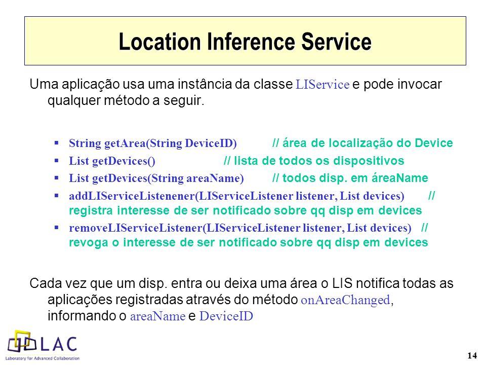 14 Location Inference Service Uma aplicação usa uma instância da classe LIService e pode invocar qualquer método a seguir.