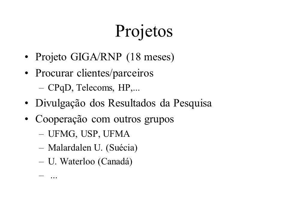 Projetos Projeto GIGA/RNP (18 meses) Procurar clientes/parceiros –CPqD, Telecoms, HP,...