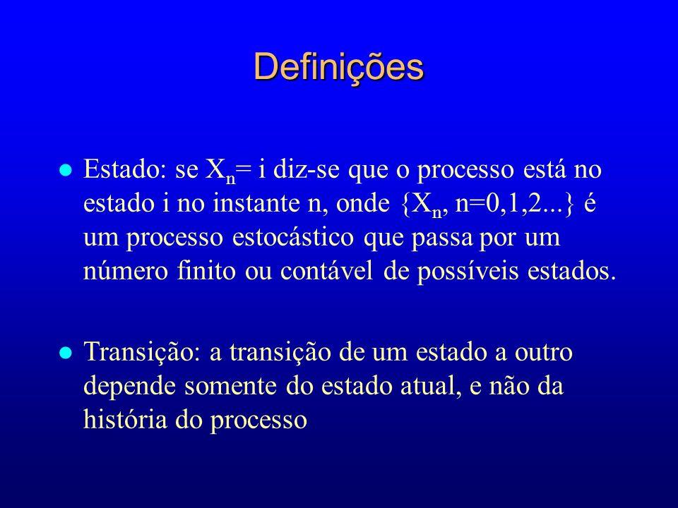 Definições l Estado: se X n = i diz-se que o processo está no estado i no instante n, onde {X n, n=0,1,2...} é um processo estocástico que passa por u