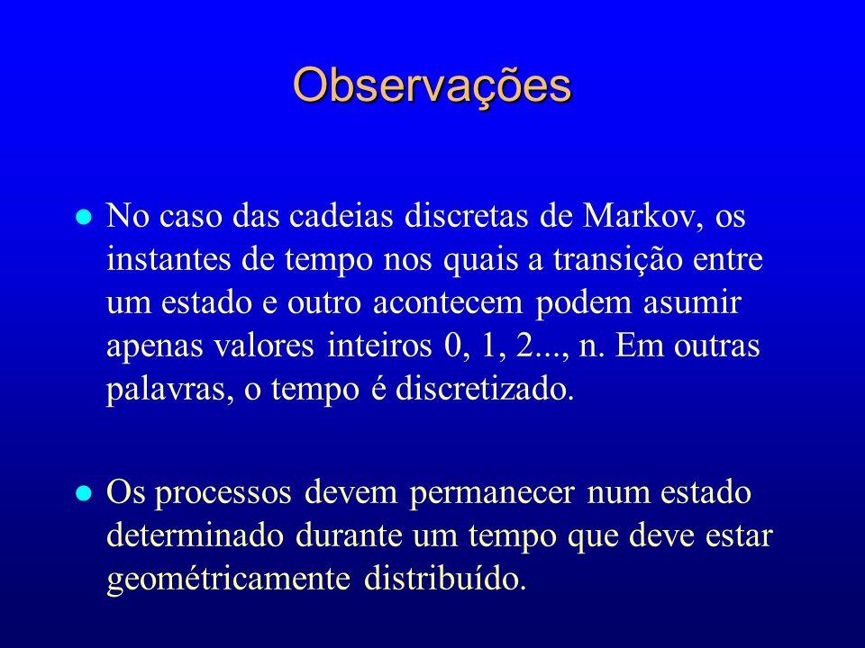 Observações l No caso das cadeias discretas de Markov, os instantes de tempo nos quais a transição entre um estado e outro acontecem podem asumir apen