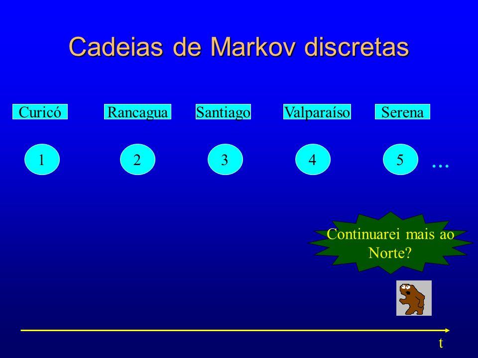 Cadeias de Markov discretas 12345 CuricóRancaguaSantiagoValparaísoSerena Continuarei mais ao Norte? t...