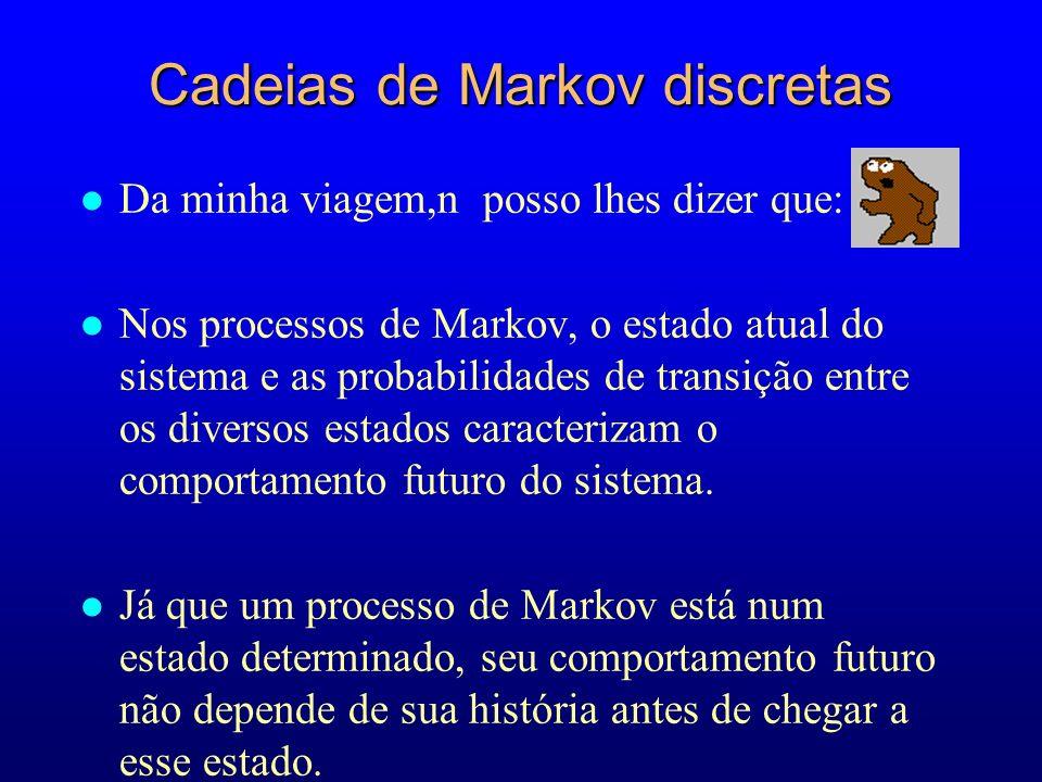 l Da minha viagem,n posso lhes dizer que: l Nos processos de Markov, o estado atual do sistema e as probabilidades de transição entre os diversos esta