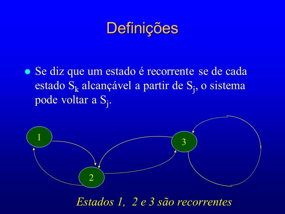 1 2 3 Estados 1, 2 e 3 são recorrentes Definições l Se diz que um estado é recorrente se de cada estado S k alcançável a partir de S j, o sistema pode