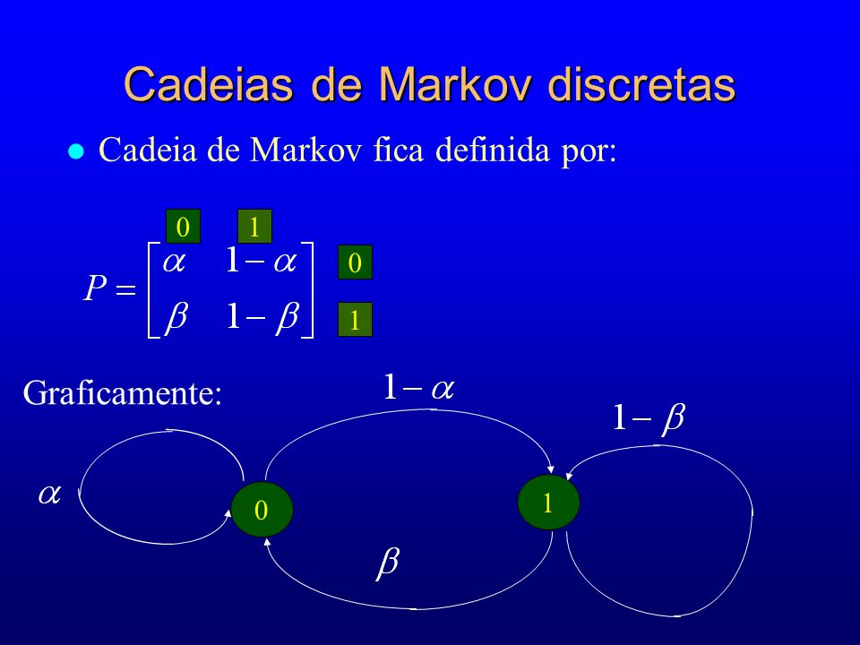 01 0 1 Graficamente: 0 1 Cadeias de Markov discretas l Cadeia de Markov fica definida por: