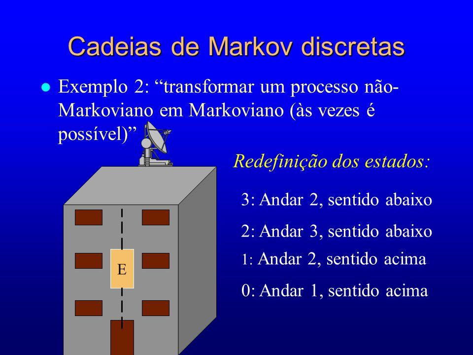1: Andar 2, sentido acima Redefinição dos estados: E 0: Andar 1, sentido acima 2: Andar 3, sentido abaixo 3: Andar 2, sentido abaixo Cadeias de Markov