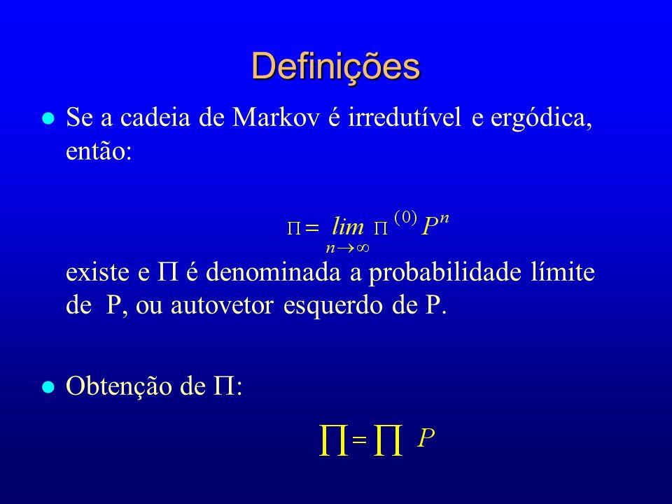 Definições l Se a cadeia de Markov é irredutível e ergódica, então: existe e é denominada a probabilidade límite de P, ou autovetor esquerdo de P. l O