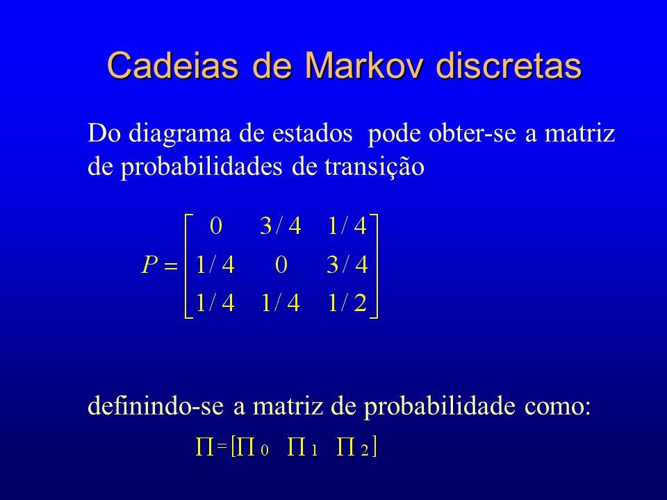 Do diagrama de estados pode obter-se a matriz de probabilidades de transição definindo-se a matriz de probabilidade como: Cadeias de Markov discretas