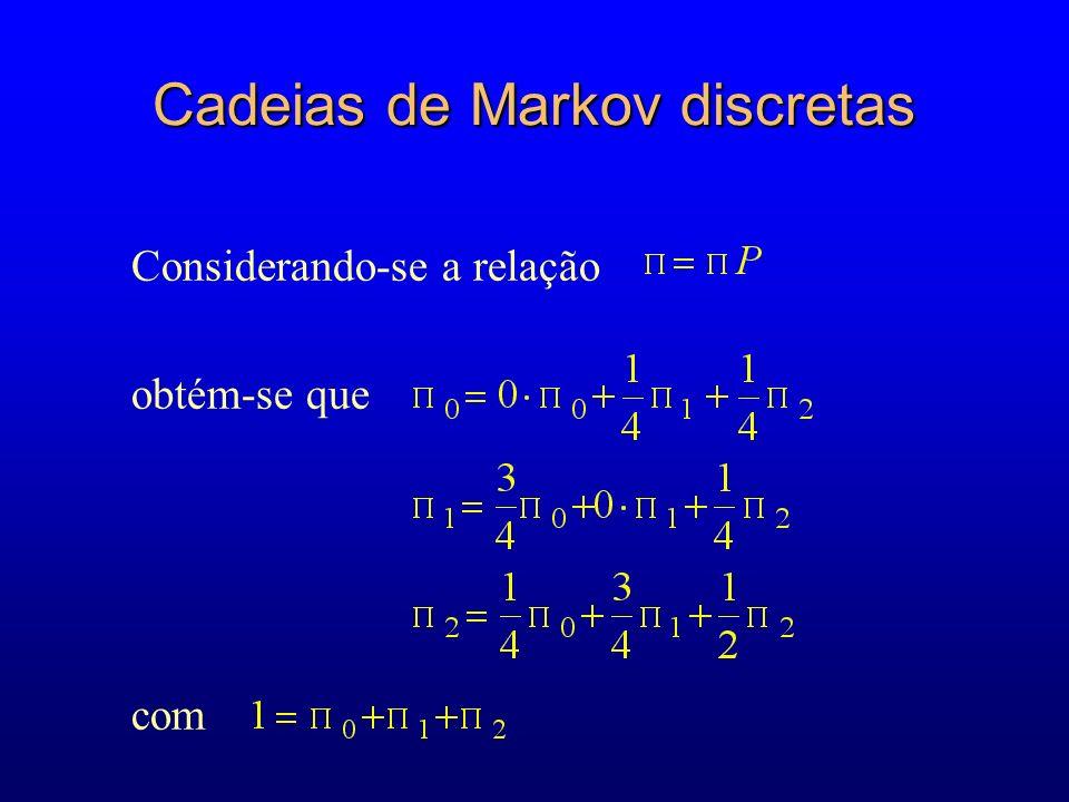 Considerando-se a relação obtém-se que com Cadeias de Markov discretas