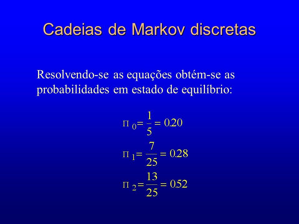Resolvendo-se as equações obtém-se as probabilidades em estado de equilíbrio: Cadeias de Markov discretas
