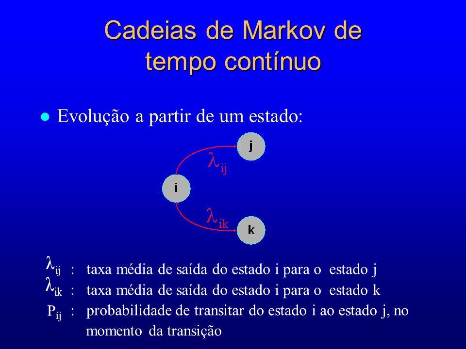 Cadeias de Markov de tempo contínuo l Evolução a partir de um estado: : taxa média de saída do estado i para o estado j : taxa média de saída do estad