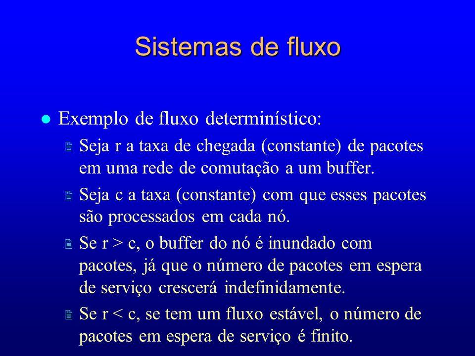 Sistemas de fluxo l Exemplo de fluxo determinístico: 2 Seja r a taxa de chegada (constante) de pacotes em uma rede de comutação a um buffer. 2 Seja c