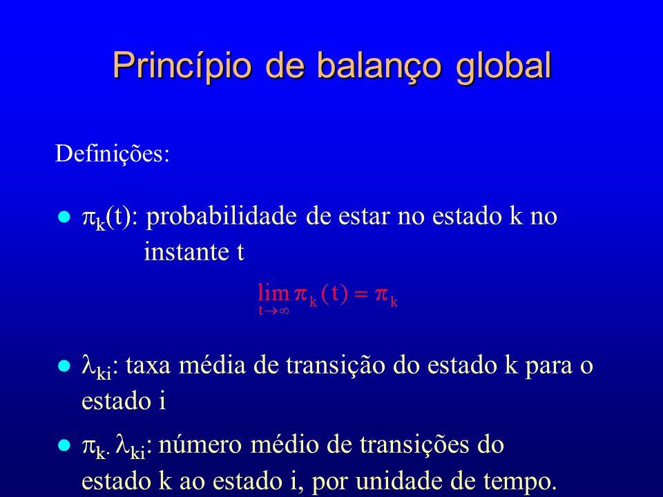 Princípio de balanço global k (t): probabilidade de estar no estado k no instante t ki : taxa média de transição do estado k para o estado i k· ki : n