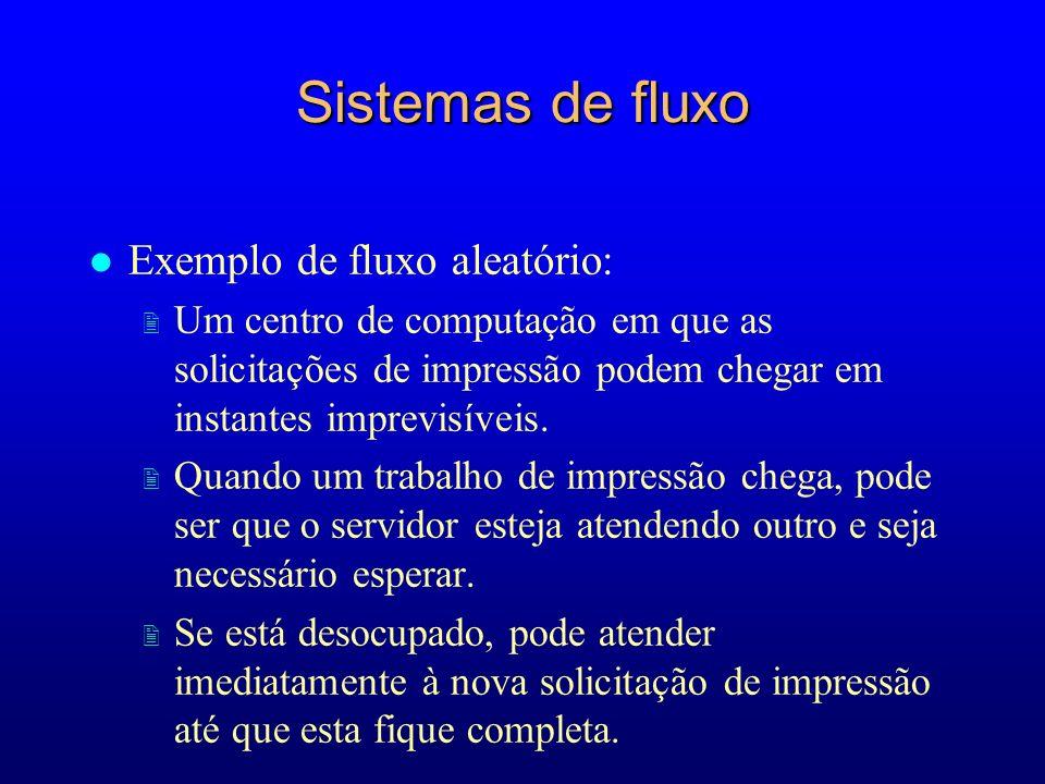 Sistemas de fluxo l Exemplo de fluxo aleatório: 2 Um centro de computação em que as solicitações de impressão podem chegar em instantes imprevisíveis.