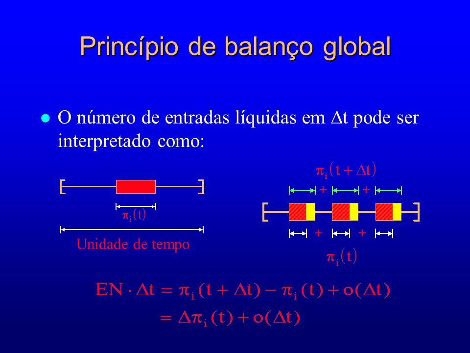 Princípio de balanço global O número de entradas líquidas em t pode ser interpretado como: Unidade de tempo