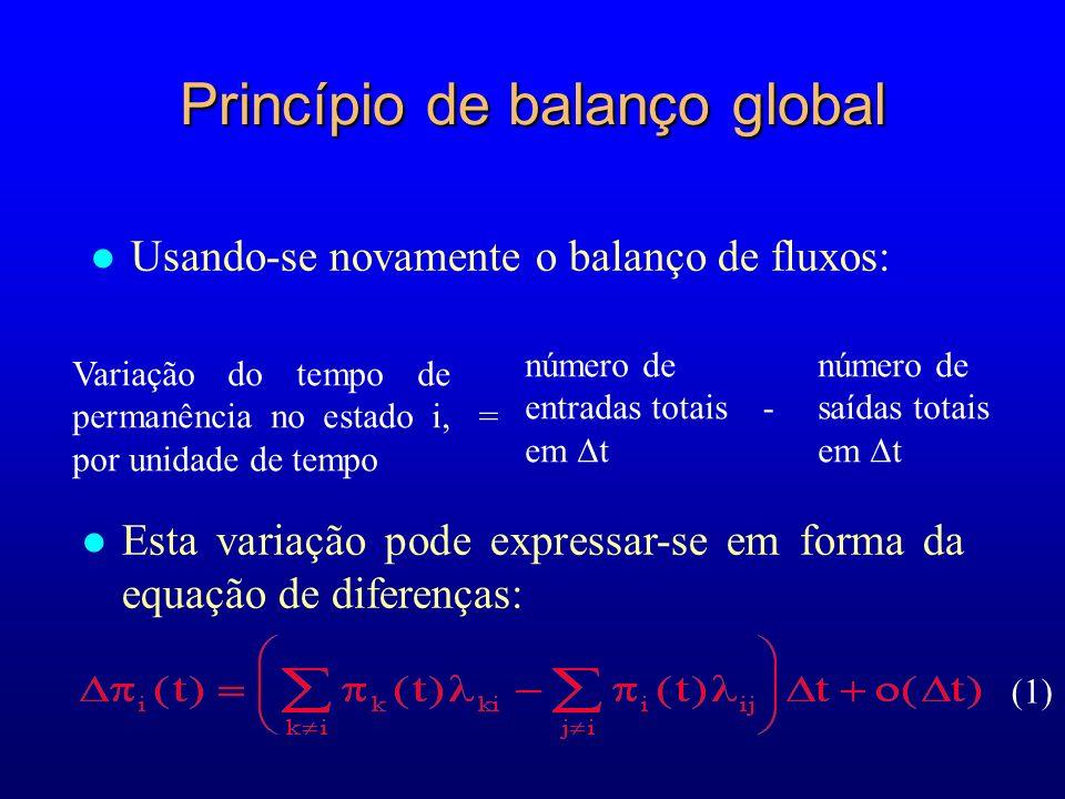 Princípio de balanço global l Usando-se novamente o balanço de fluxos: (1) Variação do tempo de permanência no estado i, por unidade de tempo número d