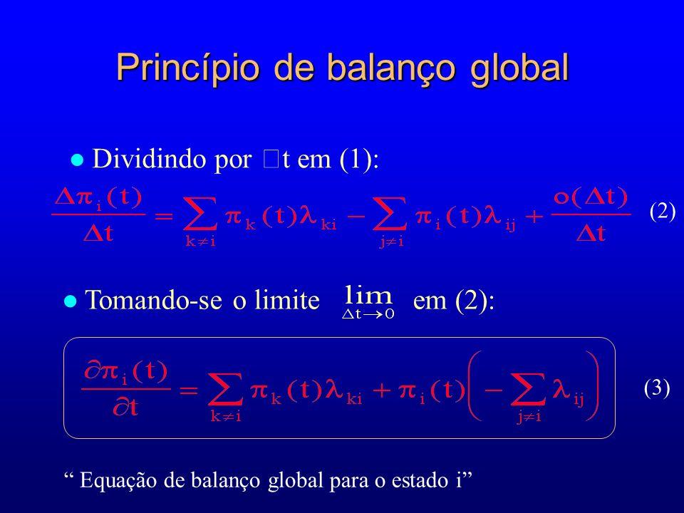 Princípio de balanço global Dividindo por t em (1): Tomando-se o limite em (2): (2) (3) Equação de balanço global para o estado i