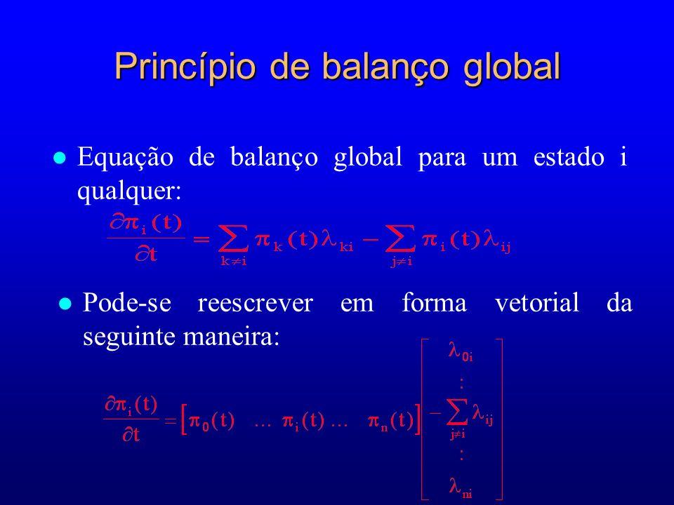 Princípio de balanço global Equação de balanço global para um estado i qualquer: Pode-se reescrever em forma vetorial da seguinte maneira: